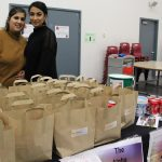 Maryiya Bibi (L) and Sanam Khan (R) with prepared food ready for Teachers' Take-away